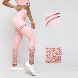 NWT Gold Black Pink White Leggings.